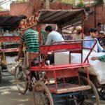 Tuk tuks in New Delhi streets