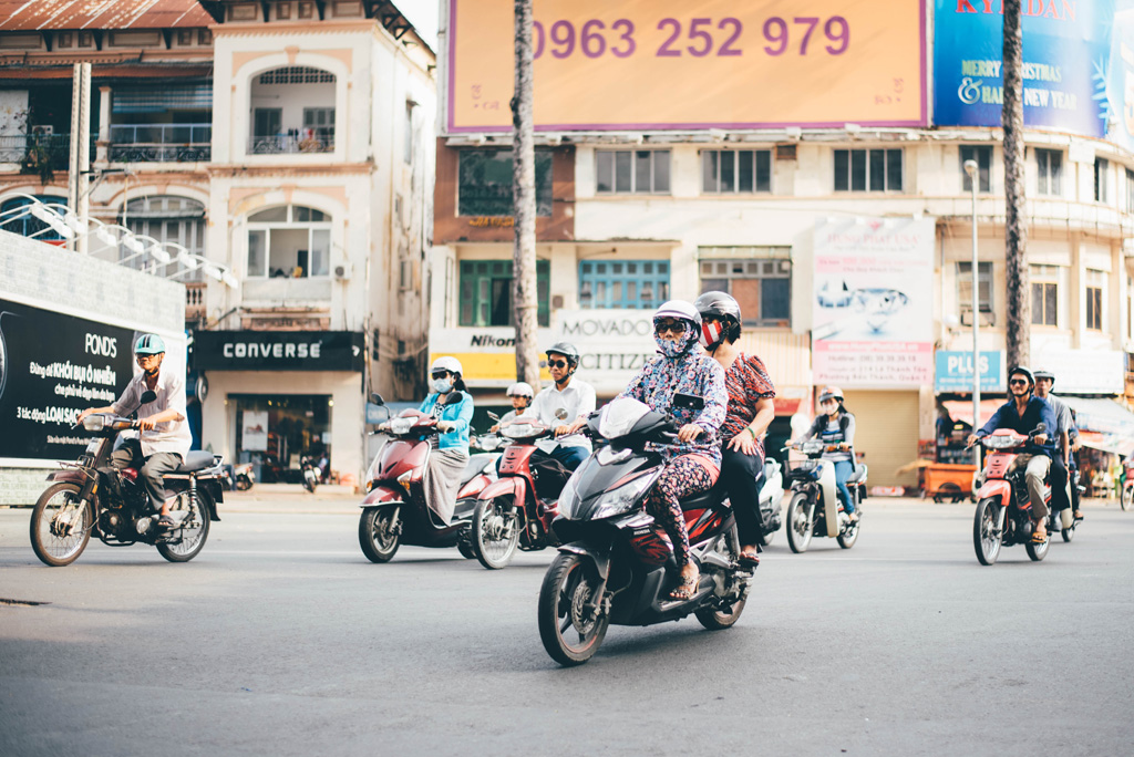 Vietnamese riding motorbikes