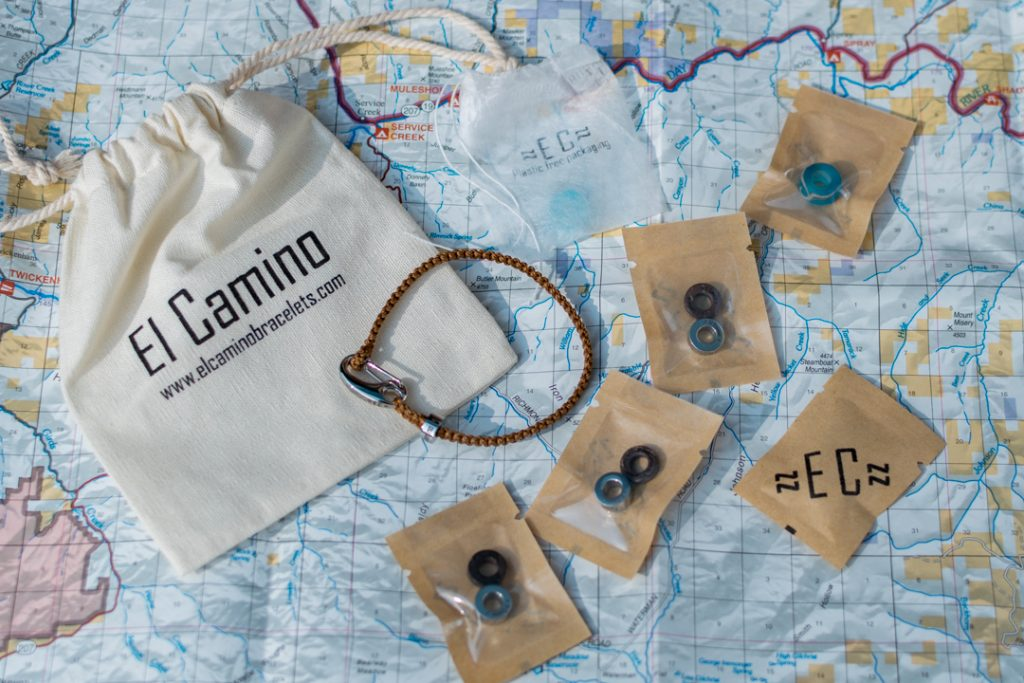 Flat lay of the El Camino bracelet in its packaging